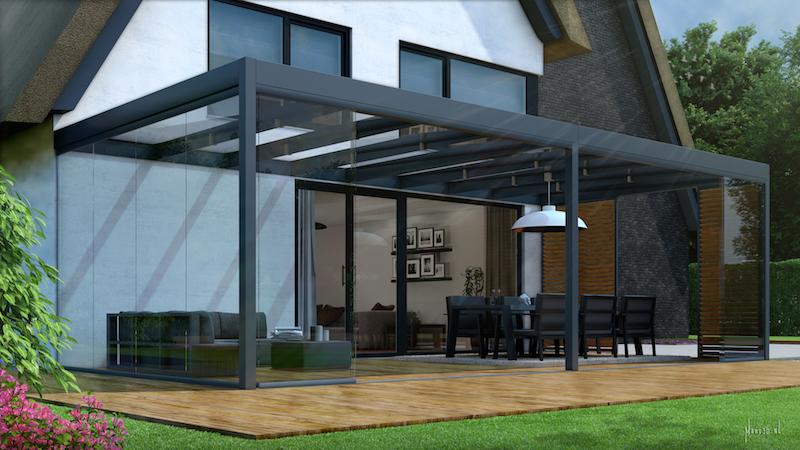 Terrasoverkapping met strak en minimalistisch design van Jumbo Leefcomfort #tuin #terras #overkapping