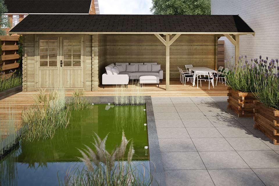 Tuinhuis met overkapping via Fonteyn #tuin #tuinhuis #tuininspiratie #tuinidee #fonteyn