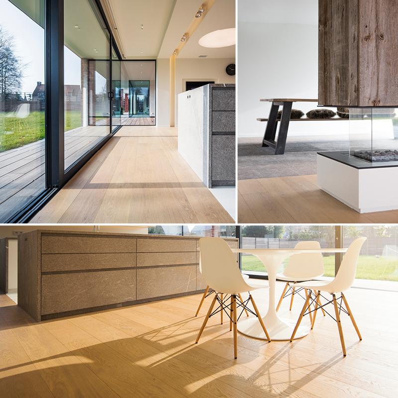 Licht parket van brede eikenhouten planken in villa met modern interieur - via Lamett