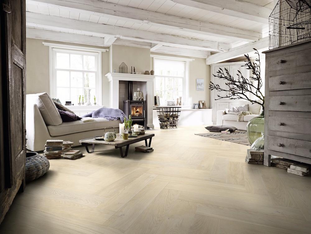 Modern visgraat parket MEISTER Longlife-parket Residence PS 500, Eik authentic wit 8563, geborsteld, natuurgeolied #parket #houtenvloer #meister #visgraat