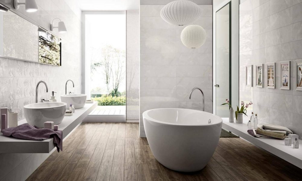 Keramisch parket in de badkamer- prachtige vloer met houtlook van Nibo Stone