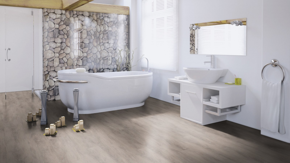 Kunststof vloer met XL planken en houtlook in badkamer - Designline Connect Kingsize via Windmoller