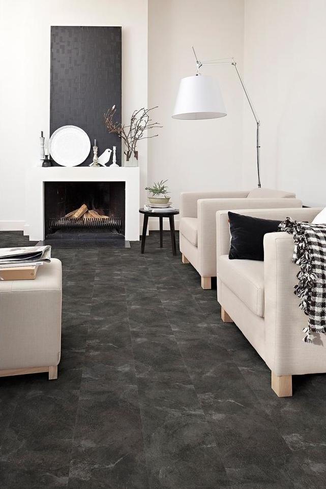 Kunststofvloer met natuursteenlook. Flexxfloors Stick (zelfklevend) deluxe tegels #vloer #kunststof #interieur