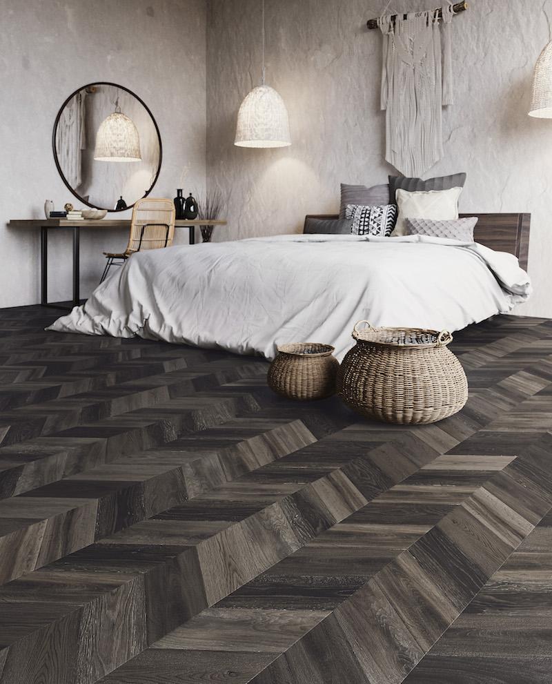 PVC vloer met hongraarse punt en de looks van een houten vloer. Bohemian van Moduleo #moduleo #vloer #pvcvloer #houtlook #hongaarsepunt