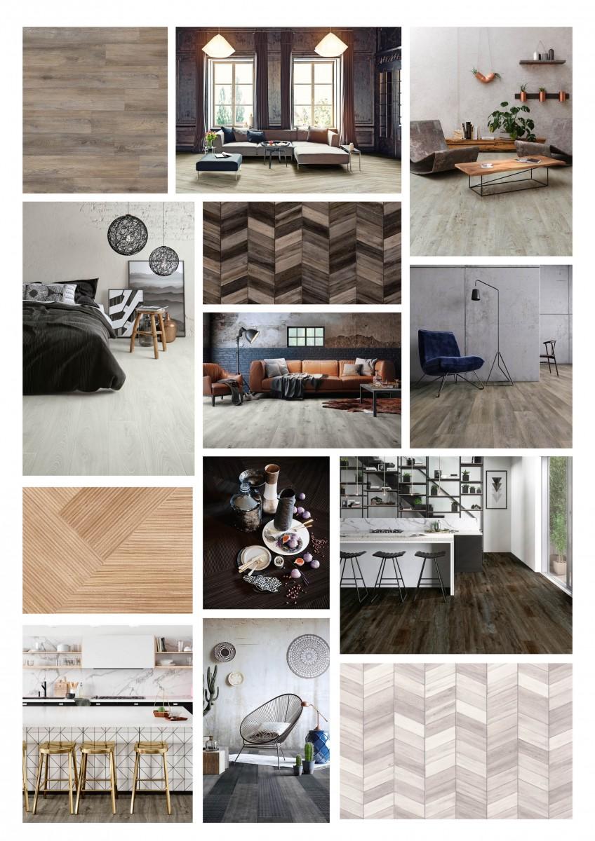 Moodboard interieur met pvc vloer met houtlook uit de nieuwste Impress collectie van Moduleo #vloeren #pvcvloer #interieur #hout #houtenvloer #moduleo