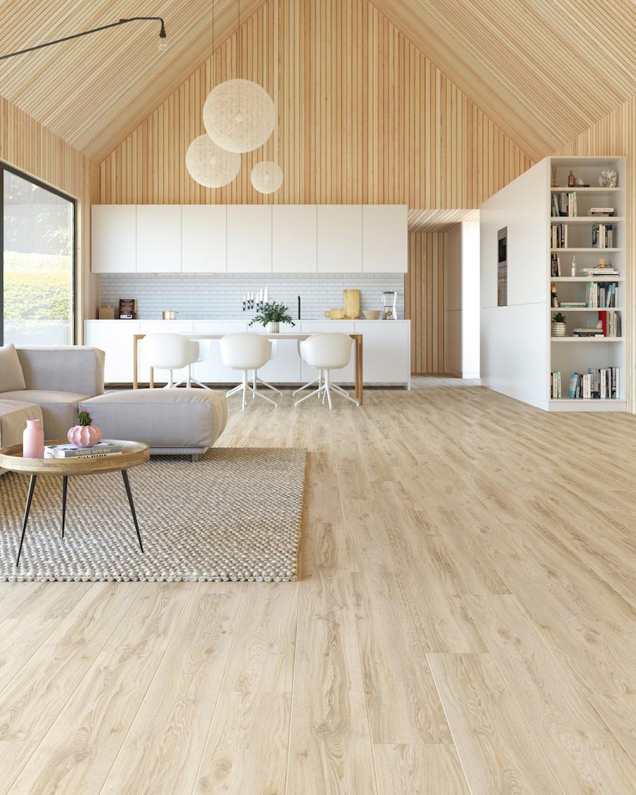 PVC vloer LayRed planken houtlook. Sterk en comfortabel: de perfecte vloer bij het bouwen of verbouwen van een huis. #pvcvloer #vloer #pvc #moduleo #interieur #verbouwen #keuken #woonkamer