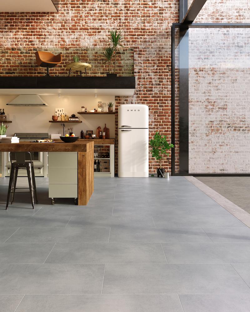 PVC vloer LayRed tegels betonlook stone. Sterk en comfortabel: de perfecte vloer bij het bouwen of verbouwen van een huis. #pvcvloer #vloer #pvc #moduleo #interieur #keuken #verbouwen