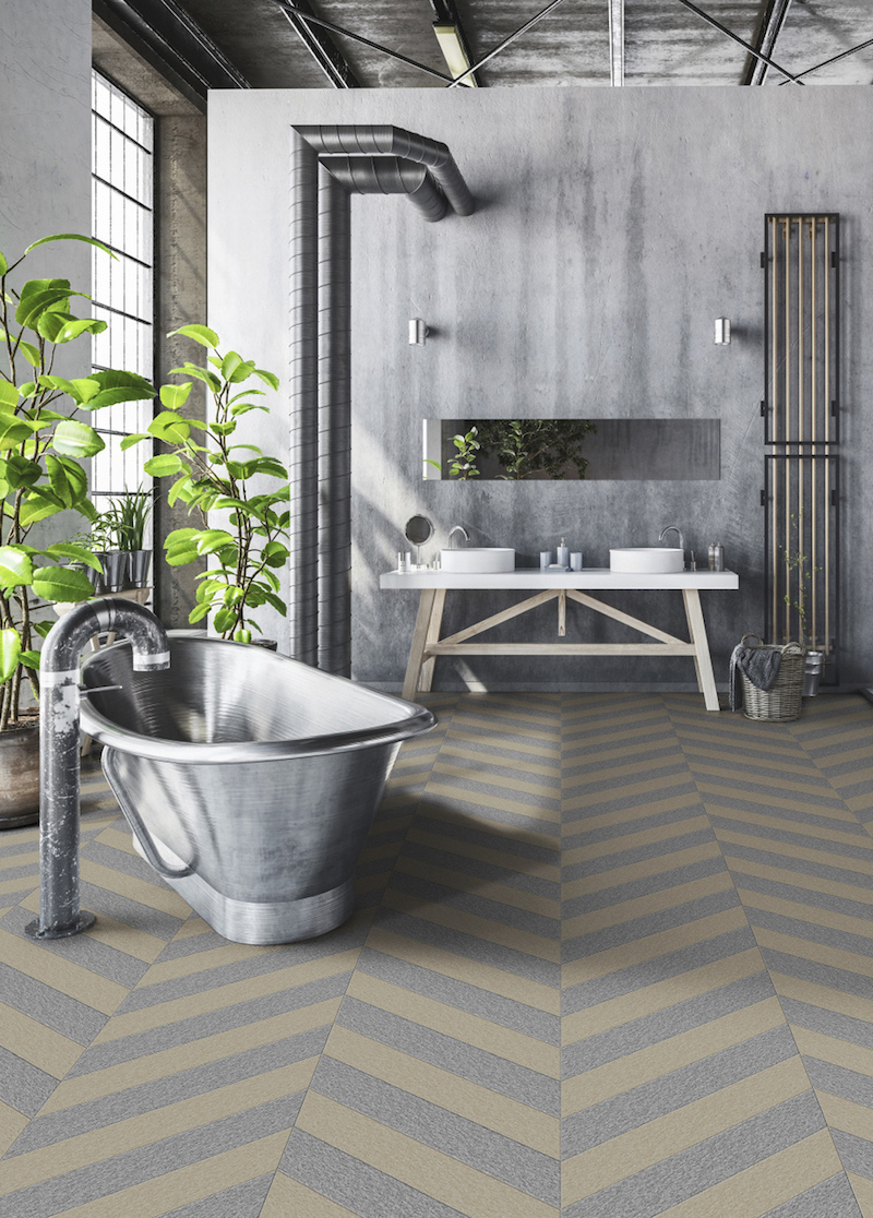 Waterdichte badkamervloer met patroon - pvc van Moduleo #badkamer #badkamervloer