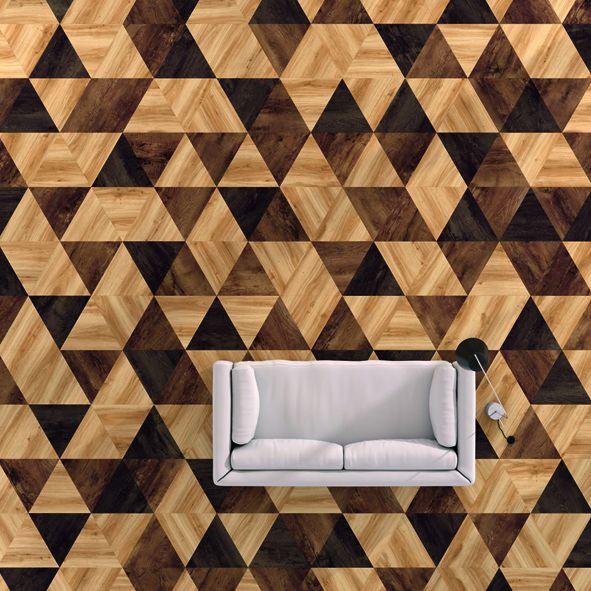 Houtlook vloer met geometrisch dessin. Moduleo Moods #trends #vloer #interieur