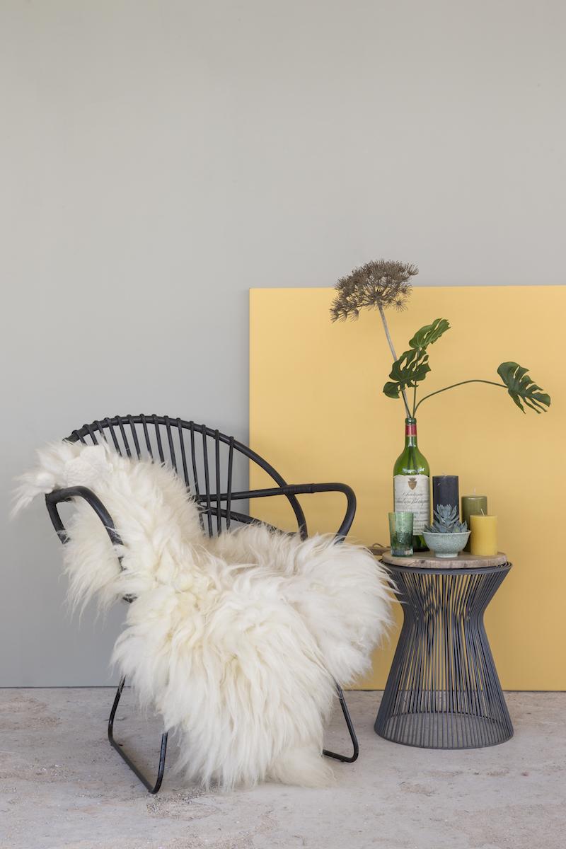 Interieur met Amazona krijtverf - olijfgrijs citron