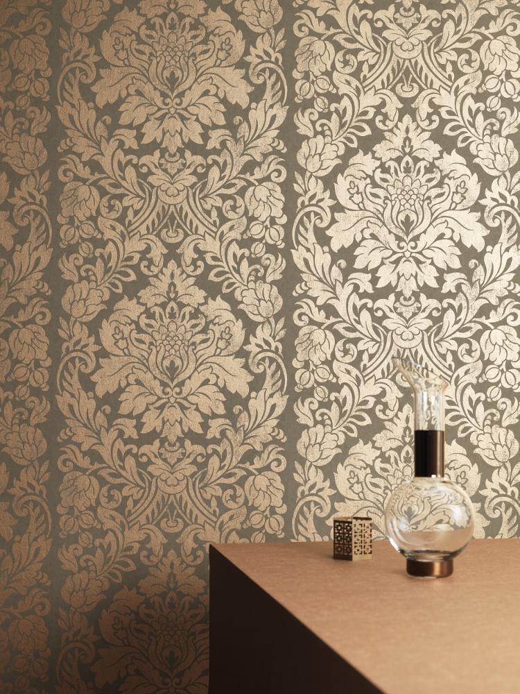 brown wallpaper bedroom