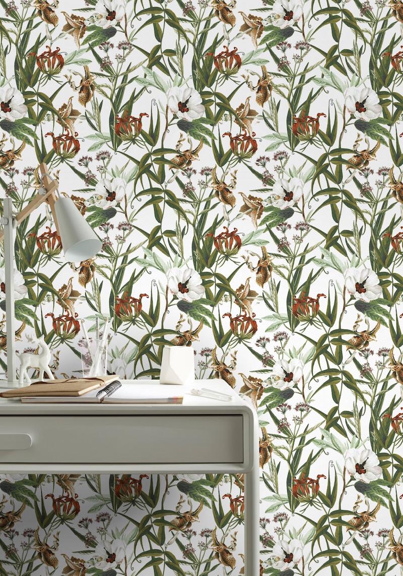 Graham & Brown behang Botanische print - bloemen wit #behang #bloemen
