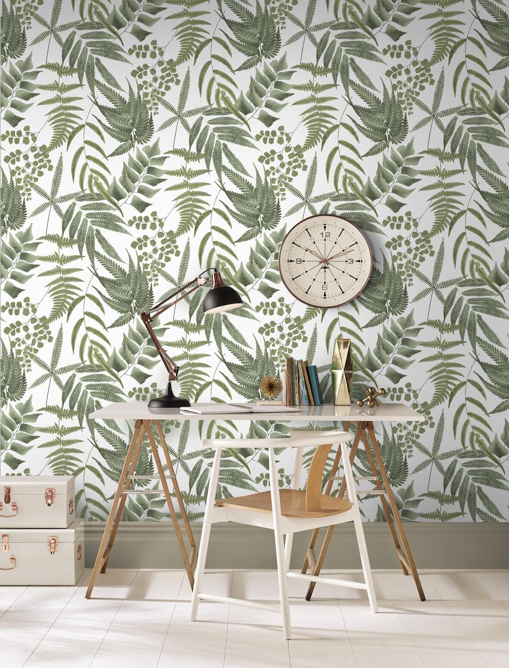 Inspiratie voor je home-office #thuisqwerken #thuiskantoor #homeoffiec #behang #grahambrown