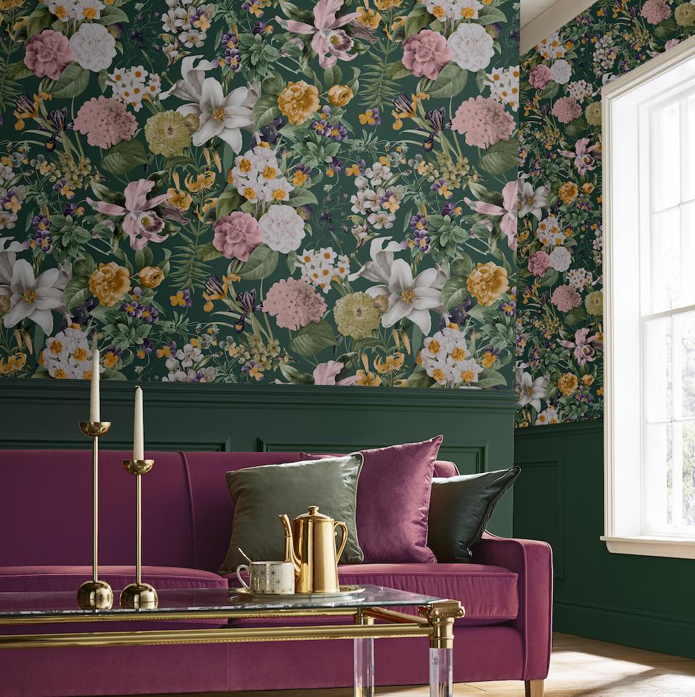 Bloemenbehang Glasshouse Flora behang collectie van Graham & Brown #behang #bloemen #bloemenbehang #interieur #interieurinspiratie #muren #grahambrown