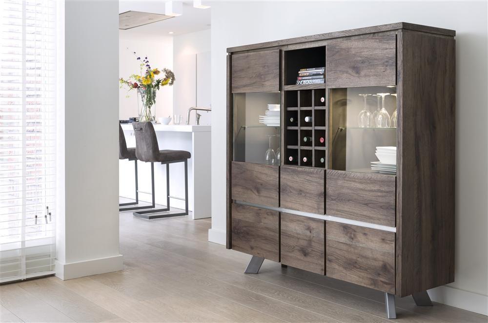 Kast Highboard met wijnvakken en LED verlichting uit de meubelcollectie Ermont van Henders & Hazel - vraag hier het gratis Henders & Hazel woon- en inspiratieboek 2017 aan