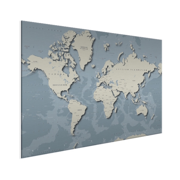 Stoere wereldkaart op aluminium