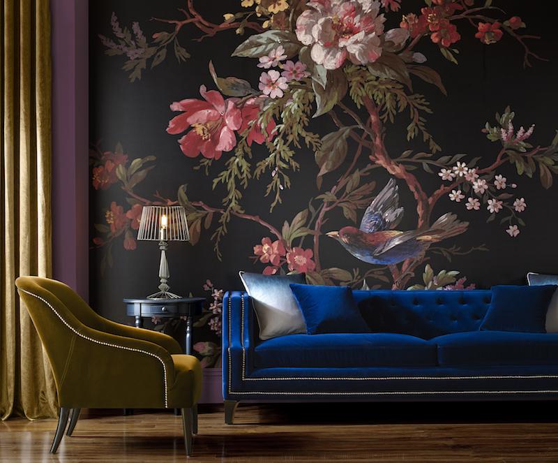 Behang als muurschildering. Vogel en bloemen van Graham & Brown #behang #interieur