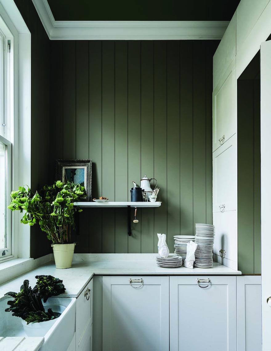 Nieuwe verfkleuren voor je interieur en keuken van Farrow & Ball: Treron grijsgroen #keuken #interieur #interieurinspiratie #muurverf #kleur #farrowball