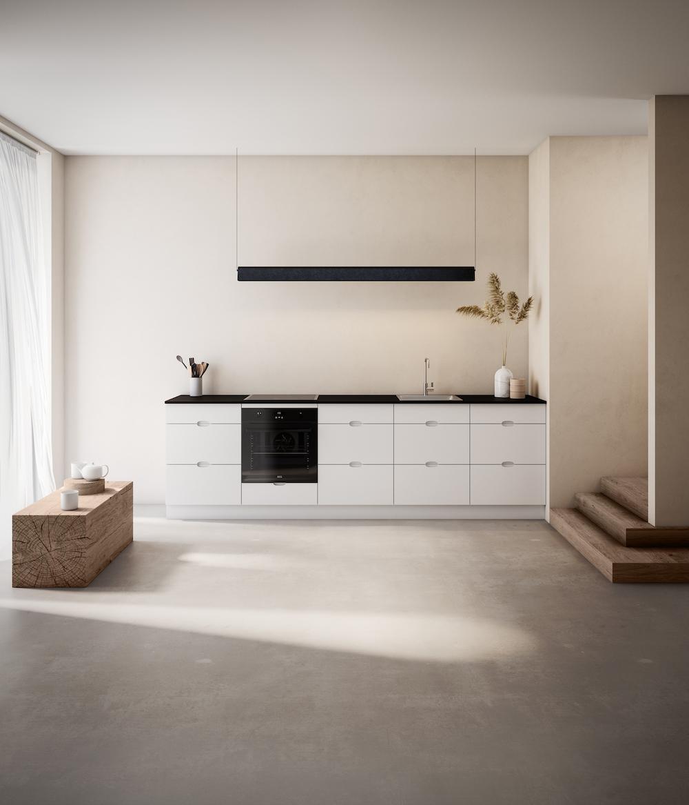 Keukentrends. Duurzaam. Witte keuken van FSC gecertificeerd hout en gerecyclede petflessen. #keukentrends #duurzaam #groen #keuken #wittekeuken #kvik