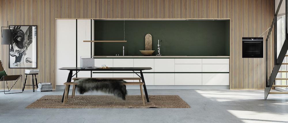 Keukentrends. Tijdloze witte keuken met greeploos design. Keuken Tinto van Kvik #keukentrends #keukeninspiratie #keuken #minimalistisch #kvik