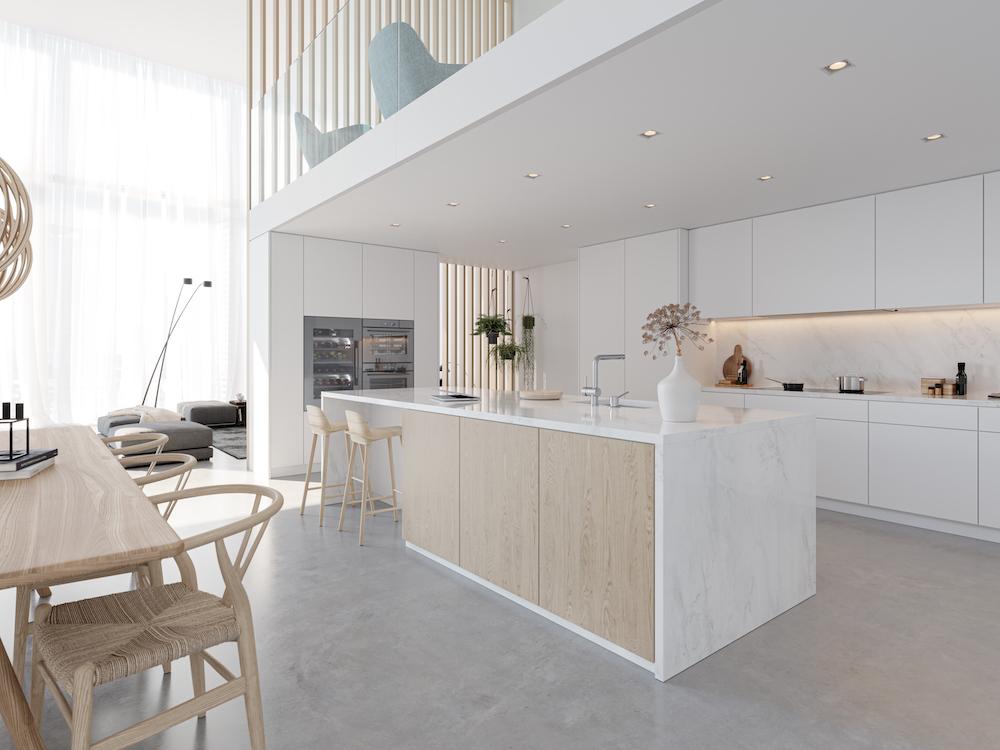 Witte keuken met kookeiland en V-ZUG ovens en stoomoven #vzug #oven #stoomoven #bakovens #inbouwapparaten #keukenapparaten #keukenapparatuur